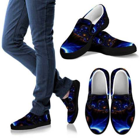 Image of Epic Fractals V.1 Shoes Women's Slip Ons - Black - W US6 (EU36)