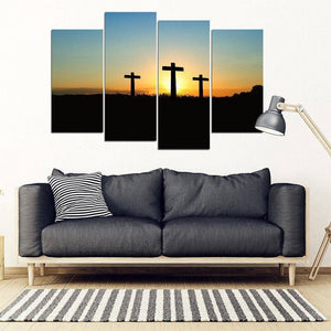 Gorgeous Sun behind Three Crosses