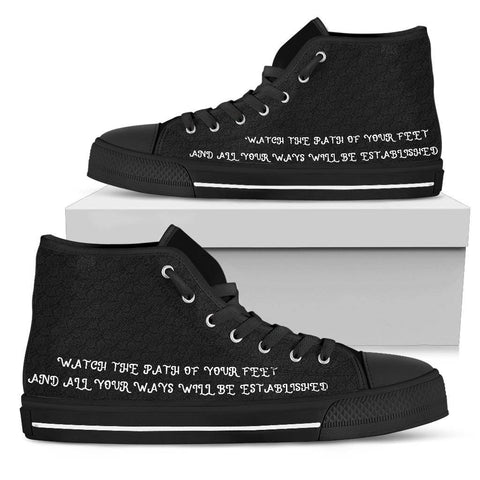Image of Proverbs 4:26 Premium Canvas High Tops Womens High Top - Black - Proverbs 4:26 US5.5 (EU36)