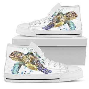 Groovy Watercolor Turtle on Premium High Tops V.1 Womens High Top - White - V.1 US5.5 (EU36)