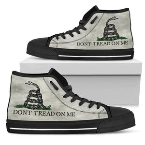 Dont Tread On Me Canvas Shoes V.2 Shoes Womens High Top - Black - Black Sole US5.5 (EU36)