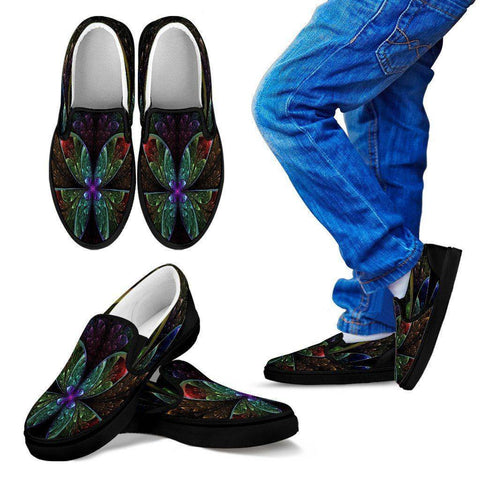 Image of Butterfly Fractal Slip Ons Kid's Slip Ons - Black - K 11 CHILD (EU28)