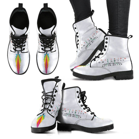 Women Photographer Premium Eco Leather Boots Women's Leather Boots - Black - Focal Length White V2 US5 (EU35)