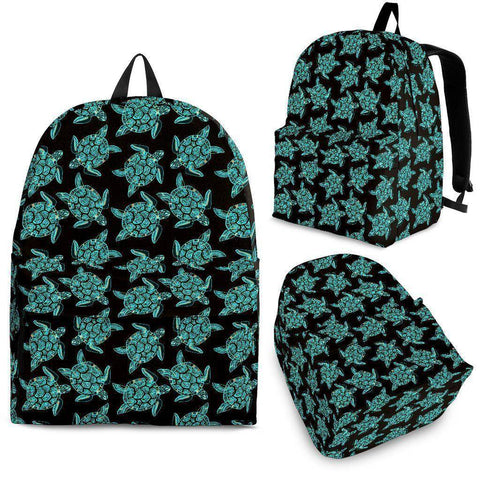 Image of Sea Turtle Backpack V2 backpack Backpack - Black - Small Pattern Adult (Ages 13+)