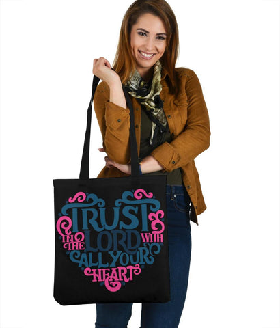 Image of Trust In The Lord, Canvas Tote Bags Tote Bag Black