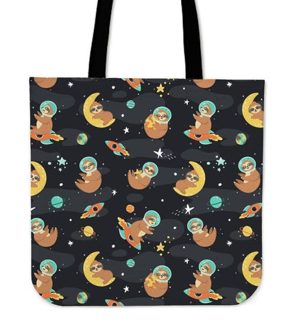 Image of Super Cool Fun Sloth Tote Bags | 3 Patterns Tote Bag Space Sloth