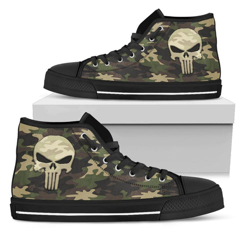 Camo Punisher Canvas High Tops Shoes Womens High Top - Black - Black Sole US5.5 (EU36)