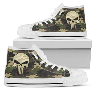 Camo Punisher Canvas High Tops Shoes Womens High Top - White - White Sole US5.5 (EU36)