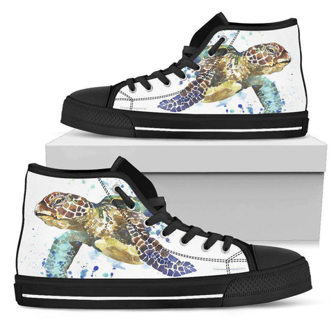Image of Groovy Watercolor Turtle on Premium High Tops V.1 Womens High Top - Black - V.1 US5.5 (EU36)