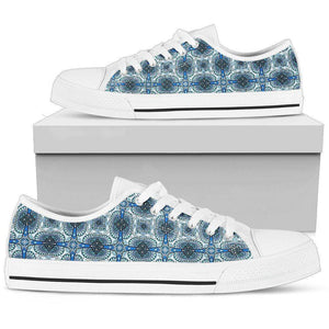 Handcrafted Tribal Pattern on Premium Canvas Shoes Shoes Womens Low Top - White - WW US5.5 (EU36)