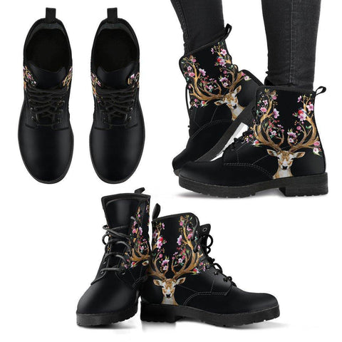 Flowered Deer Handcrafted Boots Boots