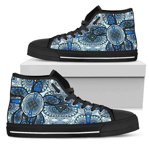 Image of Cool Blue Turtle on Premium High Tops V.1 Womens High Top - Black - Large US5.5 (EU36)