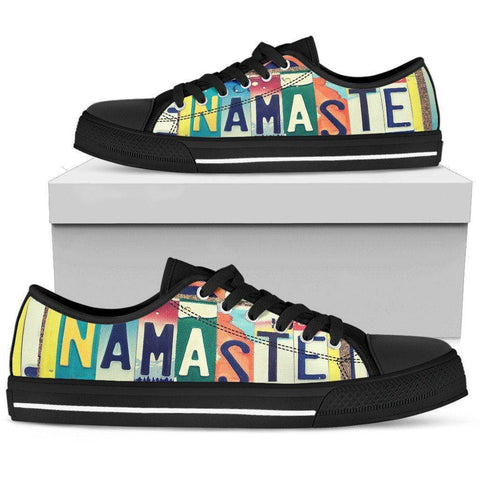Image of Groovy Namaste License Plate Art | Premium Low Top Shoes Shoes Womens Low Top - Black - Womens Black US5.5 (EU36)