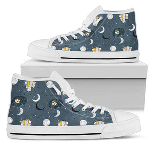 Premium Sleeping Sloth Shoes | High and Low Top Available Shoes Womens High Top - White - WWH US5.5 (EU36)