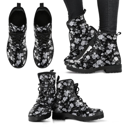 Premium Eco Leather Boots with Rose Art Women's Leather Boots - Black - White on Black US5 (EU35)