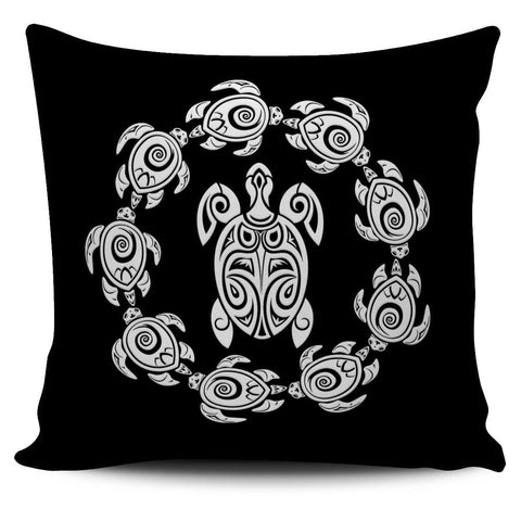 Peaceful Circle of Life Tribal Turtle Pillow Covers Pillow Case Black