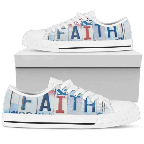 Walk By Faith | Premium Low Top Shoes Shoes Mens Low Top - White - Mens White US5 (EU38)