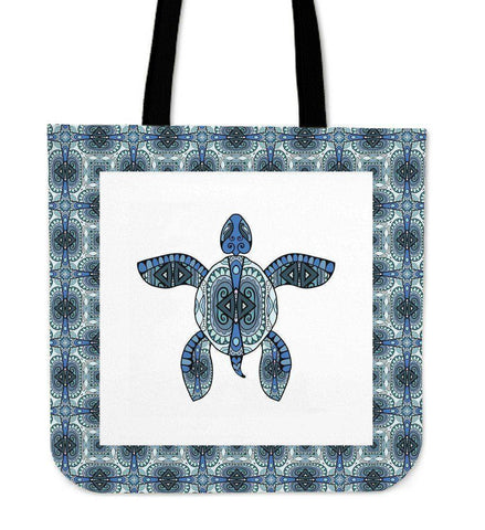 Cool Handrawn Tribal Turtle Art on Premium Tote Cool Tribal Turtle V.2
