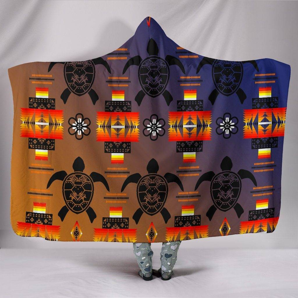 Turtle Dark Blue Orange Hooded Blanket