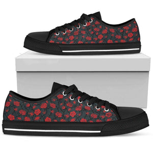 Epic Canvas Shoes with Beautiful Flower Art Womens Low Top - Black - Red on Grey US5.5 (EU36)