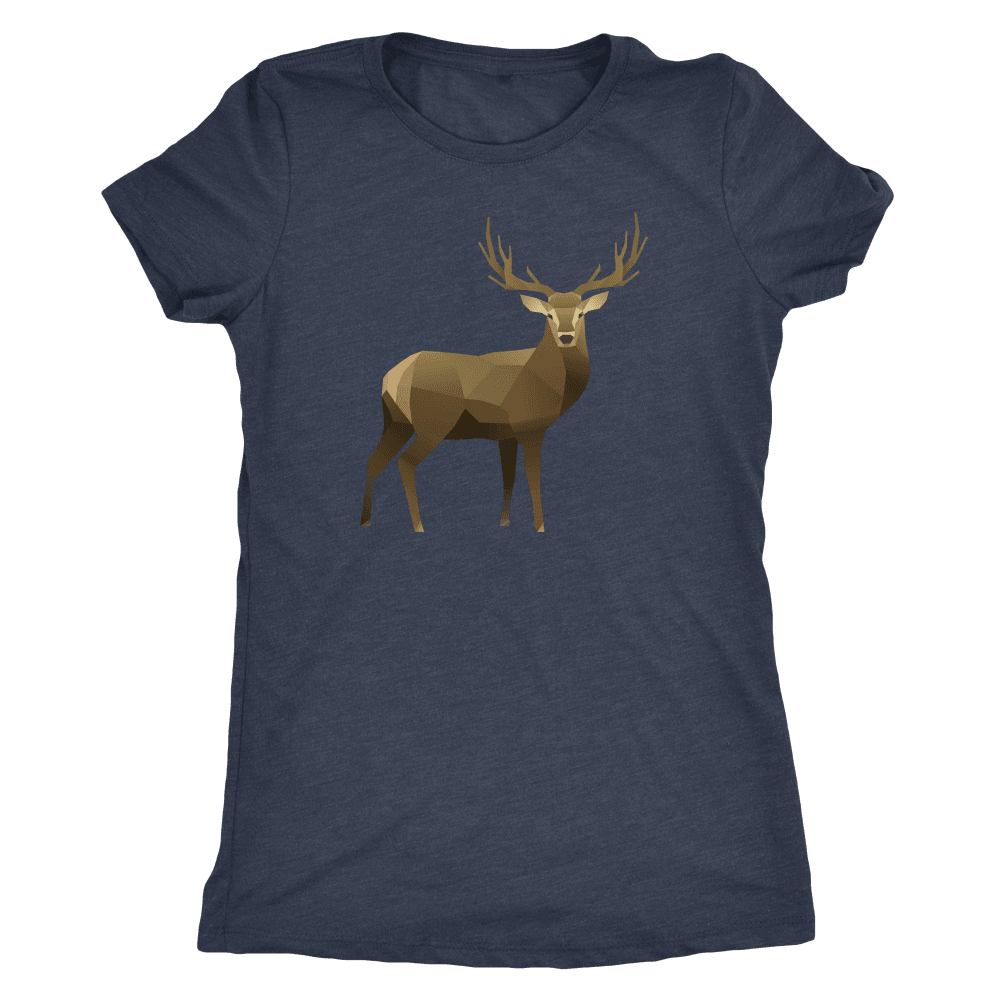 Real Polygonal Deer T-shirt Next Level Womens Triblend Vintage Navy S