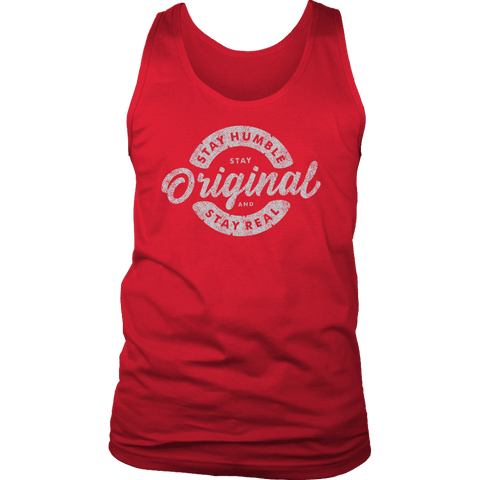 Image of Stay Real, Stay Original Mens Shirts T-shirt District Mens Tank Red S