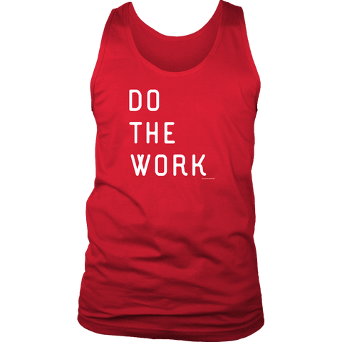 Image of Do The Work | Mens | White Print T-shirt District Mens Tank Red S