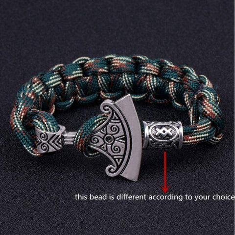 Norse Rune and Axe Paracord Bracelet Chain & Link Bracelets Camo Green No.1 Bead
