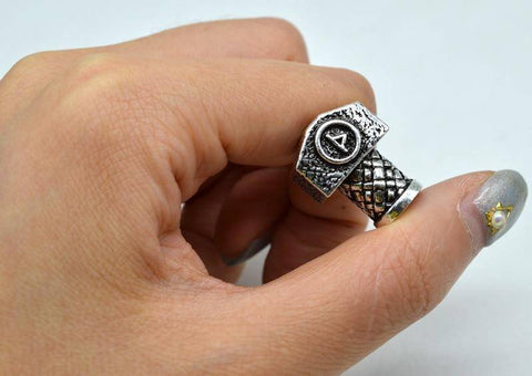 Image of Antique Silver Viking Runes and Hammers Beads