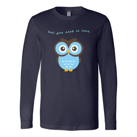 Image of Owl You Need is Love T-shirt Canvas Long Sleeve Shirt Navy S