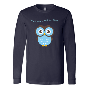 Owl You Need is Love T-shirt Canvas Long Sleeve Shirt Navy S