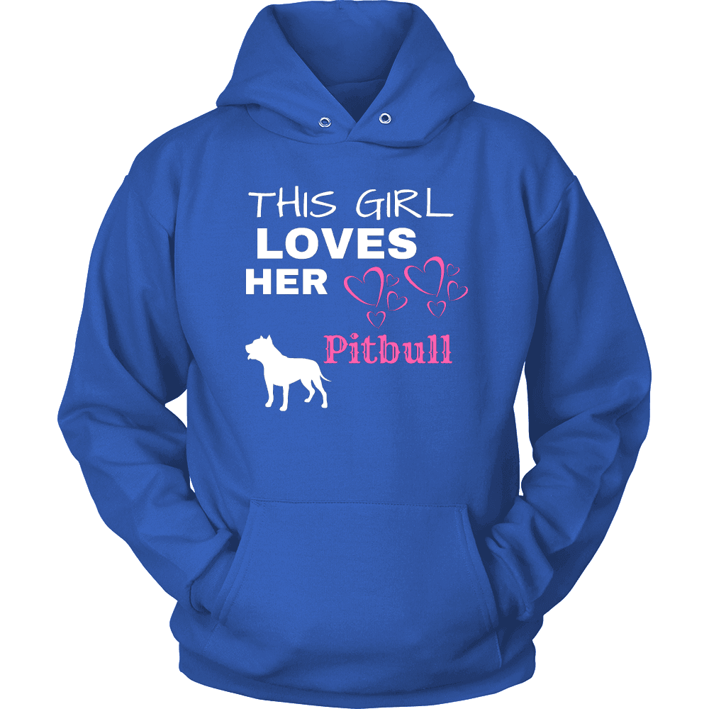 This Girl Loves Her Pitbull T-shirt Unisex Hoodie Royal Blue S