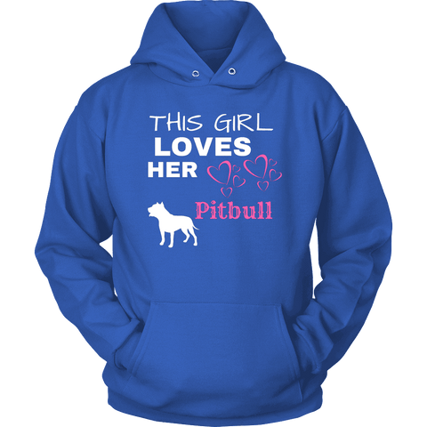 Image of This Girl Loves Her Pitbull T-shirt Unisex Hoodie Royal Blue S