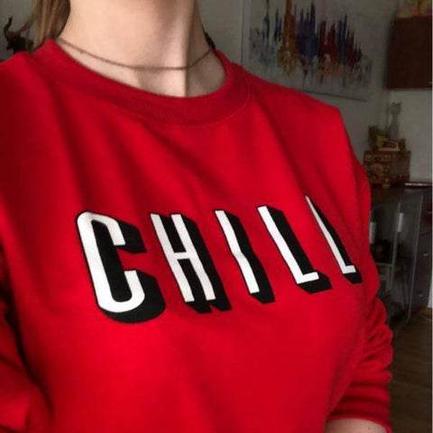 "Image of Solid Red ""CHILL"" Sweatshirt"
