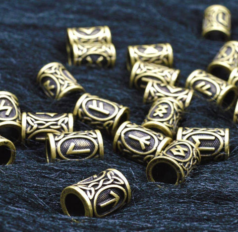 Image of Antique Bronze Norse Viking Rune Beads Beads