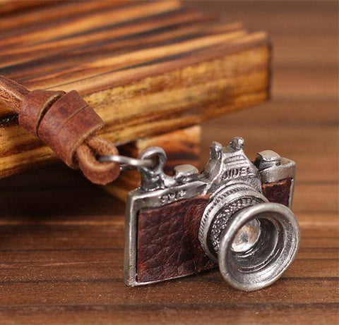 Image of HANDMADE VINTAGE CAMERA LEATHER NECKLACE