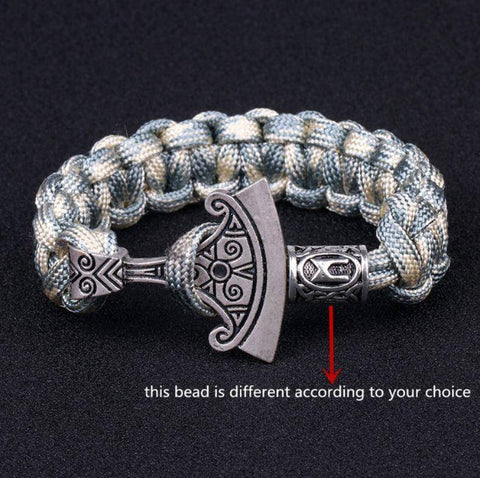Norse Rune and Axe Paracord Bracelet Chain & Link Bracelets Beige Gray No.1 Bead