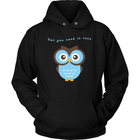 Image of Owl You Need is Love T-shirt Unisex Hoodie Black S