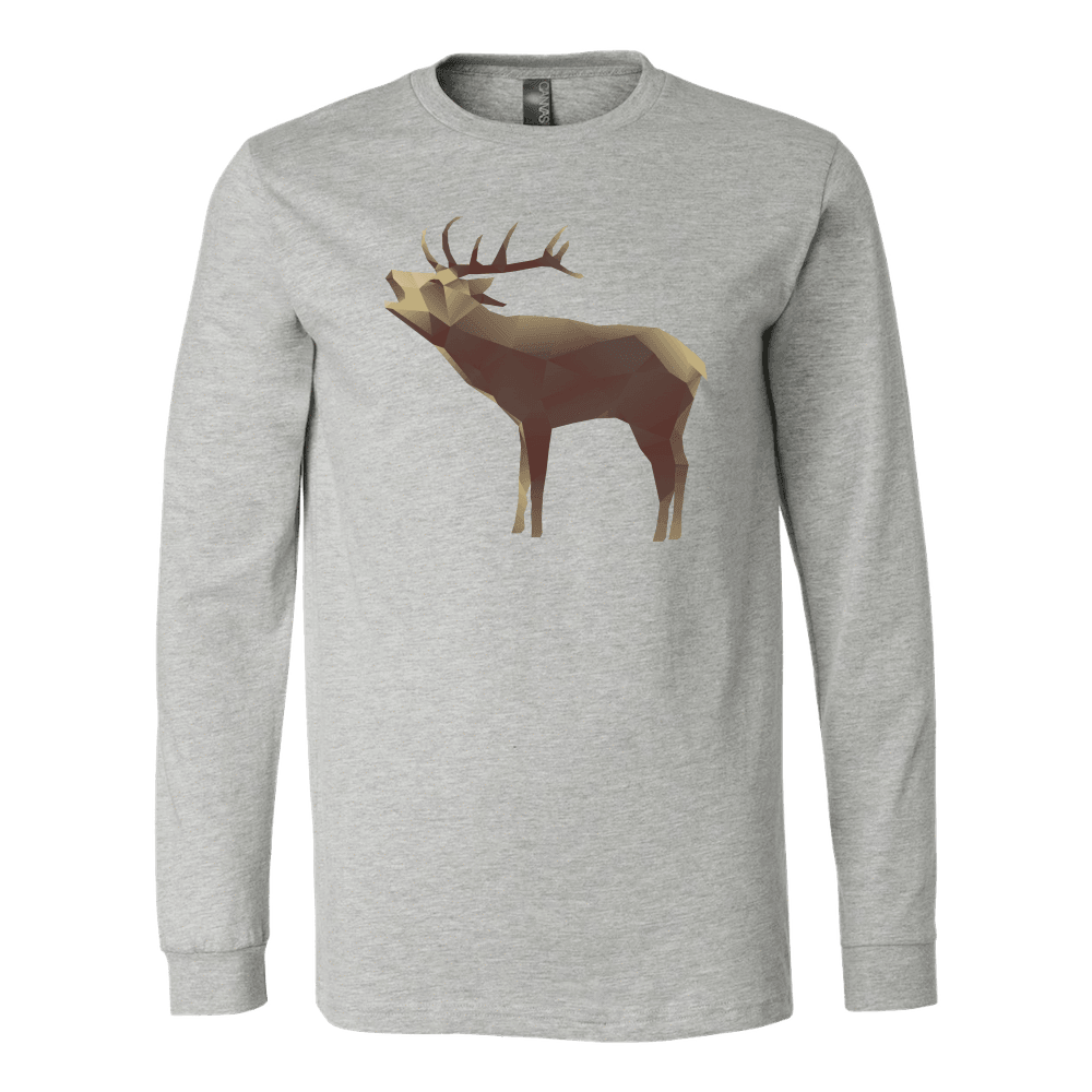 Large Polygonaly Deer T-shirt Canvas Long Sleeve Shirt Athletic Heather S