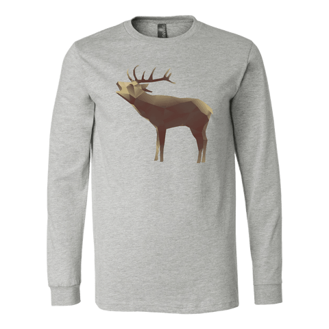 Image of Large Polygonaly Deer T-shirt Canvas Long Sleeve Shirt Athletic Heather S