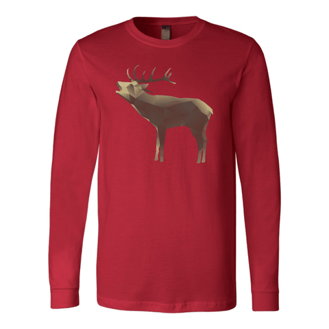 Image of Large Polygonaly Deer T-shirt Canvas Long Sleeve Shirt Red S