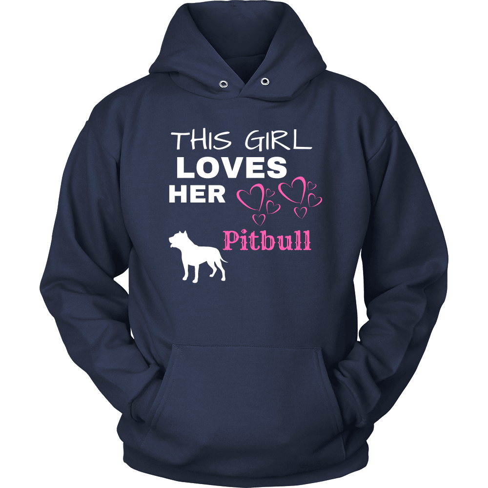 This Girl Loves Her Pitbull T-shirt Unisex Hoodie Navy S