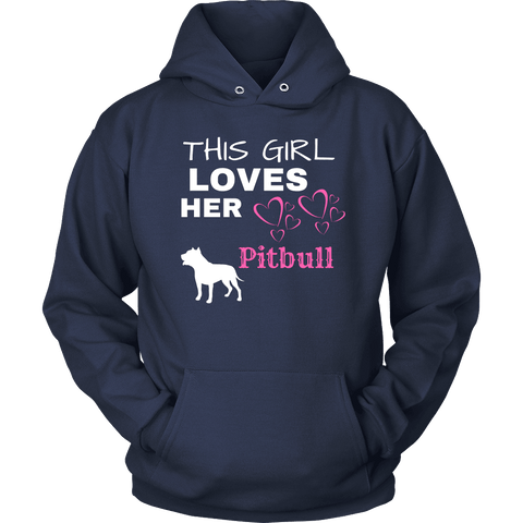 Image of This Girl Loves Her Pitbull T-shirt Unisex Hoodie Navy S