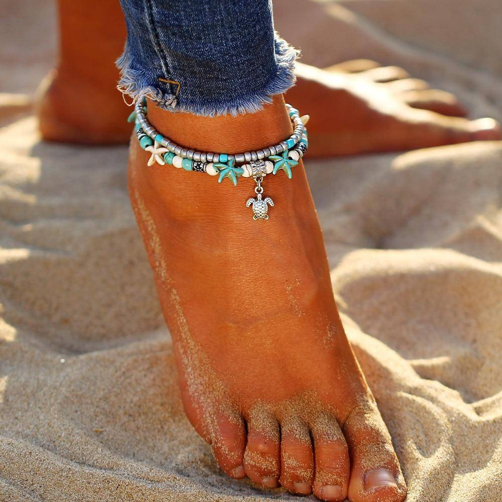 Hand Crafted Bohemian Turtle Bead Anklets
