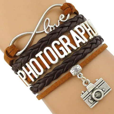 Image of Infinity Love Photography Leather Wrap Charm Bracelets B3994