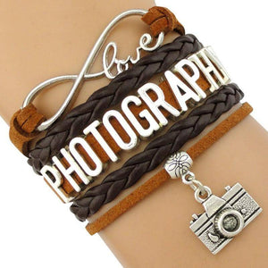 Infinity Love Photography Leather Wrap Charm Bracelets B3994
