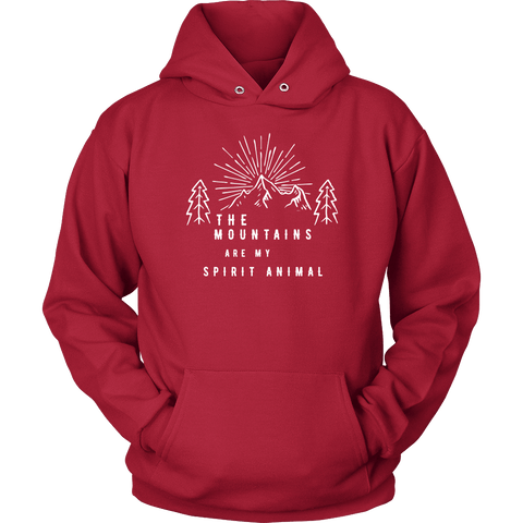 Image of Mountains Spirit T Shirt 1 T-shirt Unisex Hoodie Red S
