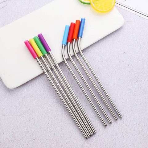 Image of 8PCS/set Stainless Steel Drinking Straw  With Silicone Tips and Clean Brush