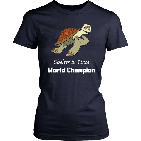 Image of Shelter In Place World Champion, White Print T-shirt District Womens Shirt Navy XS