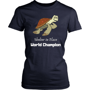 Shelter In Place World Champion, White Print T-shirt District Womens Shirt Navy XS